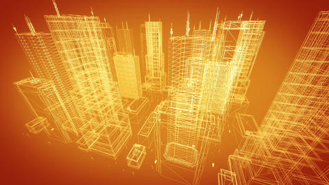 Architectural blueprint of contemporary buildings, gold tint Stock Video Footage