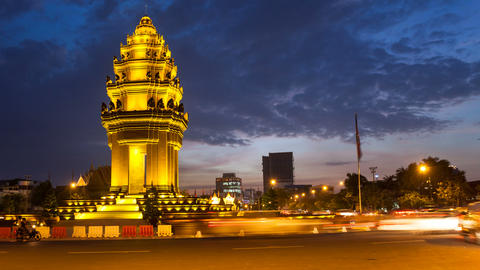 4K - CAMBODIA - TIMELAPSE OF INDEPENDENCE MONUMENT stock footage