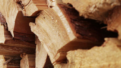 Panoramic close-up firewood Stock Video Footage