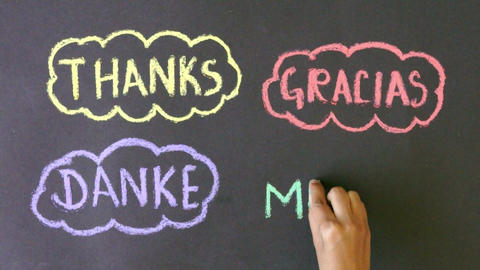 Thanks in different languages Chalk drawing Footage