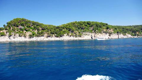 Ferry and coast of Costa Brava, Catalonia, Spain Stock Video Footage