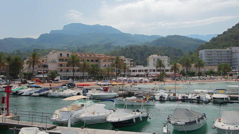 Port De Soller, Mallorca, Spain stock footage