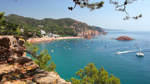 Tossa de Mar, Costa Brava in Catalonia, Spain Footage