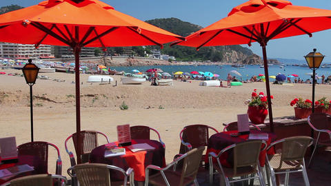 Cafe next to the beach, Tossa de Mar, Costa Brava,... Stock Video Footage