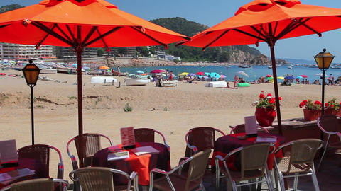Cafe next to the beach, Tossa de Mar, Costa Brava, Catalonia, Spain Footage