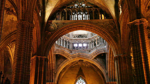 Cathedral in Barcelona, Catalonia, Spain Stock Video Footage