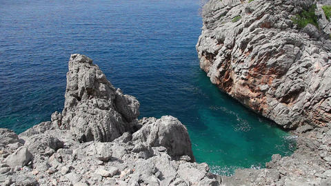 Clear crystal water and rocks, Mallorca Island, Balearic... Stock Video Footage