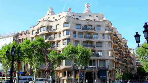 Casa Mila, La Pedrera in Barcelona, Spain Footage