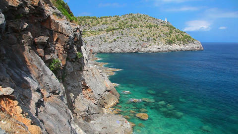Lighthouse on hill in Port de Soller, Mallorca Island,... Stock Video Footage