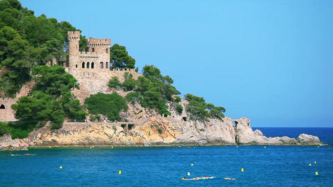 Castle in Lloret de Mar, Costa Brava, Spain Footage