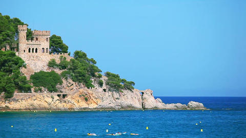 Castle in Lloret de Mar, Costa Brava, Spain Stock Video Footage