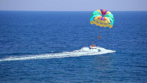 Motorboat with parachute Stock Video Footage