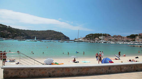 View form old tramway in Port de Soller, Mallorca Island,... Stock Video Footage