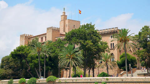 Royal Palace in Palma de Mallorca, Mallorca Island, Spain Stock Video Footage