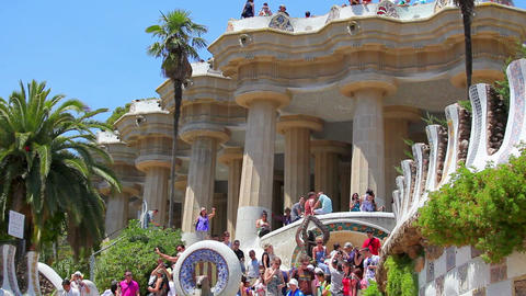 Park Guell in Barcelona, Spain Stock Video Footage