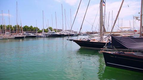 Yachts in port, Palma de Mallorca, Mallorca Island, Spain Stock Video Footage