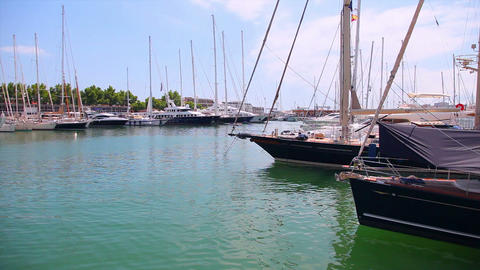 Yachts in port, Palma de Mallorca, Mallorca Island, Spain Stock Video Footage