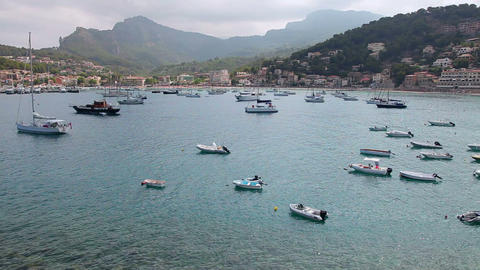 Boats and yachts in Port de Soller, Mallorca Island, Spain Footage