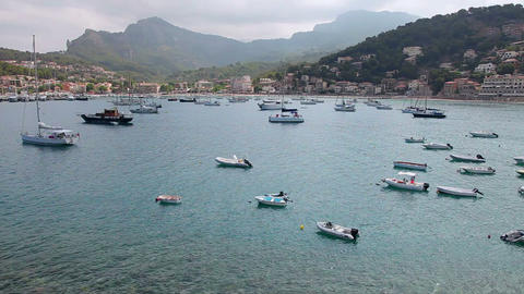 Boats and yachts in Port de Soller, Mallorca Island, Spain Stock Video Footage