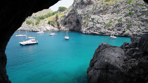 Yachts in beautiful bay, Sa Calobra, Mallorca Island, Spain Footage