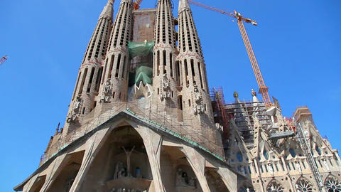 Sagrada Familia Cathedral in Barcelona, Spain Stock Video Footage
