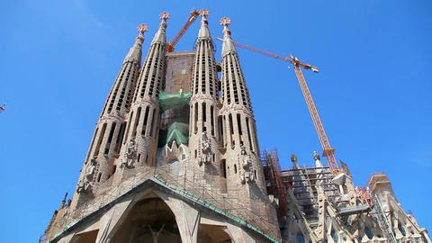 Sagrada Familia Cathedral in Barcelona, Spain Footage