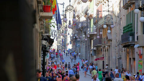 Busy street in old town of Barcelona, Catalonia, Spain Stock Video Footage