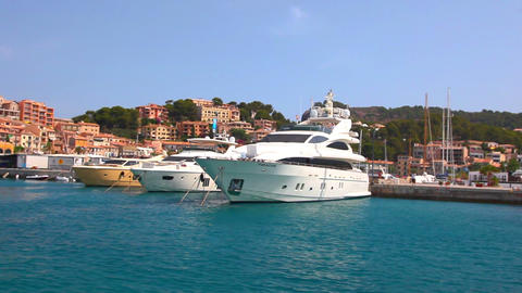 Yachts in Port de Soller, Mallorca Island, Spain Stock Video Footage