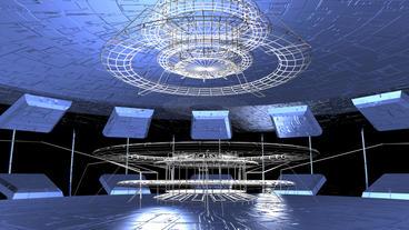 virtual tech grid indoor scene Stock Video Footage