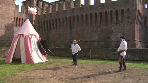 medieval sword duel 02 Stock Video Footage