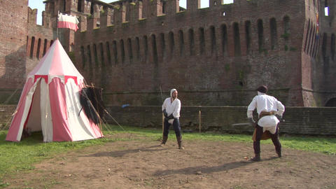 medieval sword duel 02 Stock Video Footage