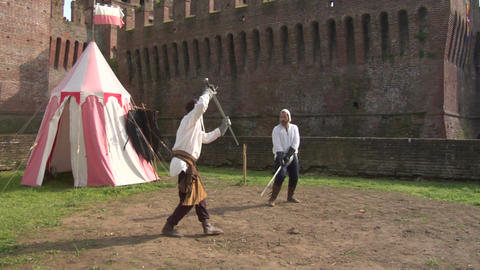 Medieval Sword Duel 02 stock footage