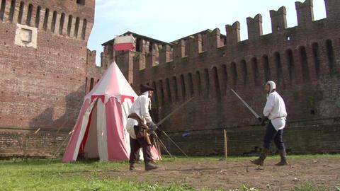 medieval sword duel 04 Stock Video Footage