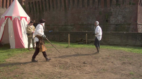 medieval sword duel 06 Stock Video Footage
