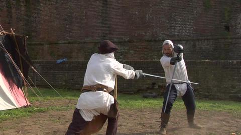 medieval sword duel 06 Footage