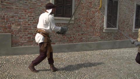 medieval sword duel 12 Stock Video Footage