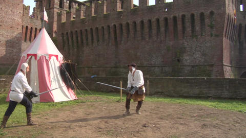 medieval sword duel slow 02 Stock Video Footage