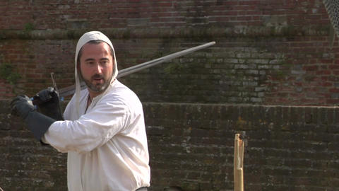 medieval sword duel slow 04 Stock Video Footage