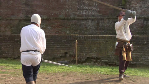 medieval sword duel slow 04 Stock Video Footage