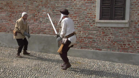 medieval sword duel slow 12 Stock Video Footage