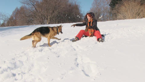 Beauty woman with dog in winter country Footage