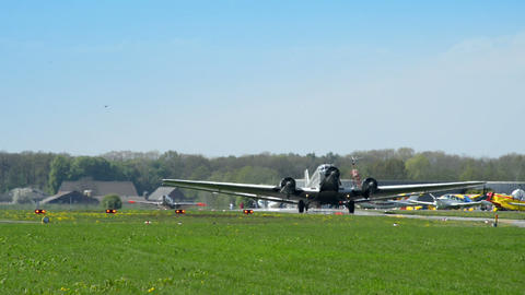 historic airplane Junkers JU 52 roll on taxiway 10909 Stock Video Footage