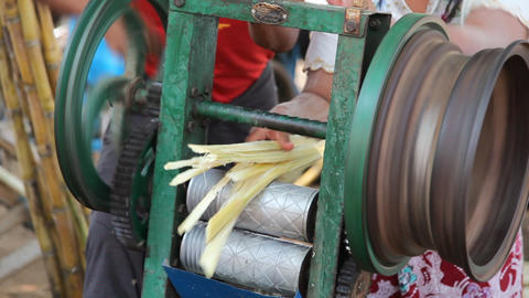 Cane juice preparation Stock Video Footage
