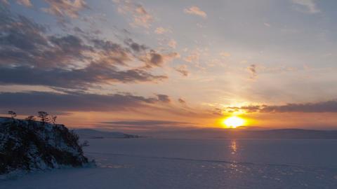 Winter sunset timelapse Stock Video Footage