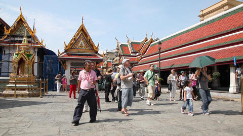 Visitors in Grand Palace, Bangkok, Thailand Stock Video Footage