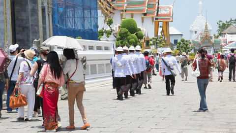 Military in Grand Palace, Bangkok, Thailand Stock Video Footage