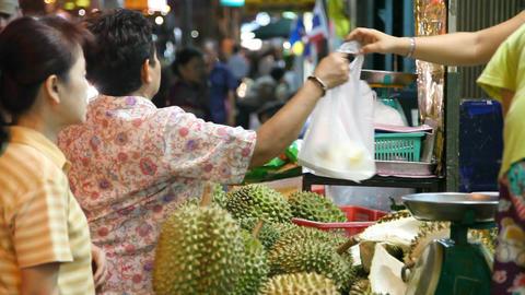 Tuk-Tuk on night street in Bangkok Stock Video Footage