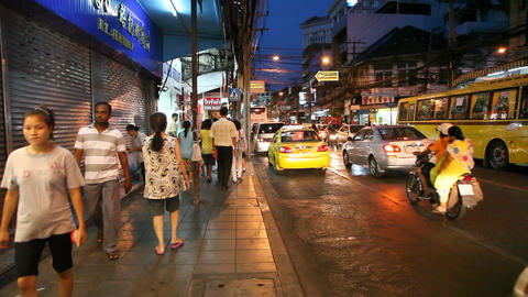 Night street in Bangkok Footage