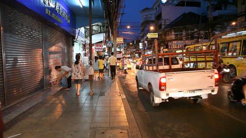 Night street in Bangkok Stock Video Footage