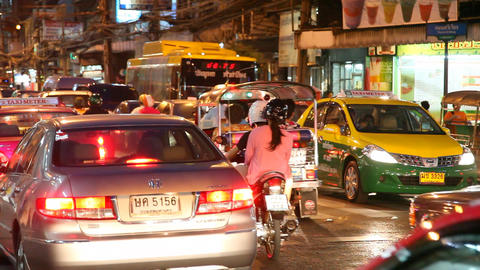 Night street in Bangkok Stock Video Footage